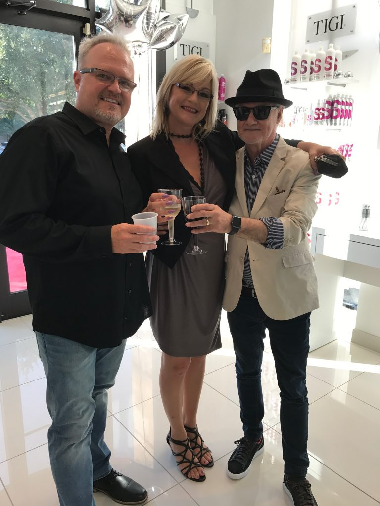 Brian, Ashley, and Bruno Mascolo for the opening of a a new Toni & Guy salon in Houston